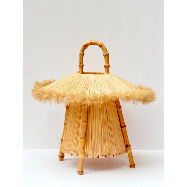1960s Bamboo and Straw Hanging Lantern For Sale - Image 5 of 7