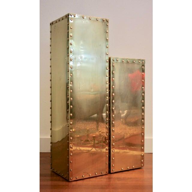 Sarreid-Style Brass Studded Pedestal (Smaller Pedestal Only) - Image 2 of 11