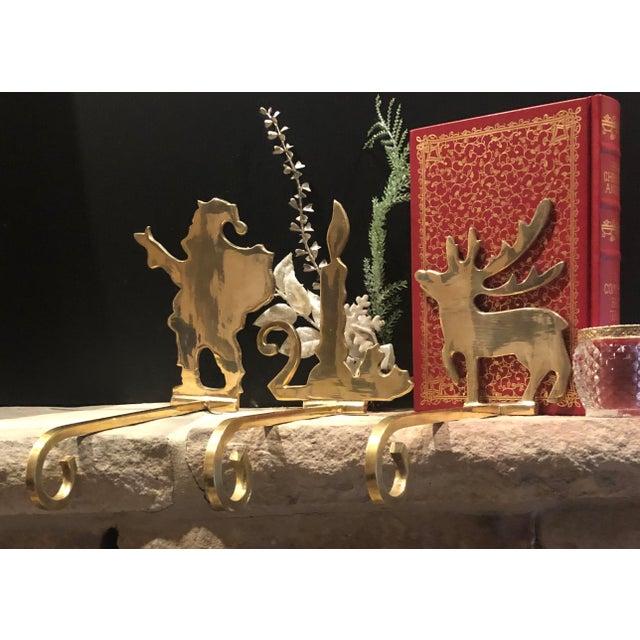 Brass Vintage Brass Stocking Hooks Santa, Reindeer and Candle Hangers - Set of 3 For Sale - Image 8 of 12