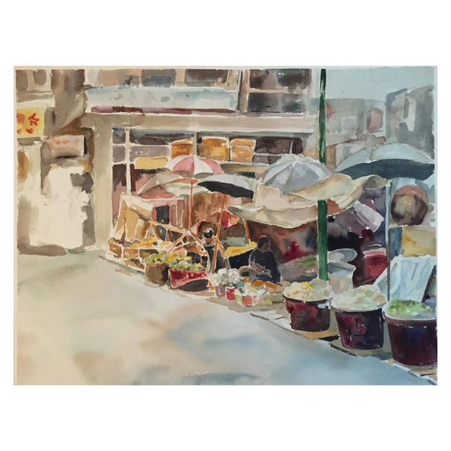Thelma Moody Gouache Farmer's Market Painting For Sale