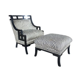 "1980s Vintage Jay Spectre for Century Barrel ""Wallis Simpson"" Lounge Chair & Ottoman For Sale"