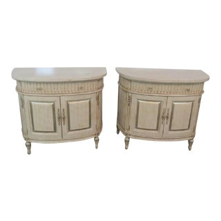 Jeffco Distressed Painted Marble Top Commodes - a Pair