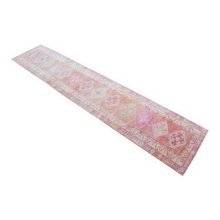 Hand-Made Turkish Runner Rug. Soft Colors Tribal Herki Rug- 2′7″ × 12′10″ For Sale