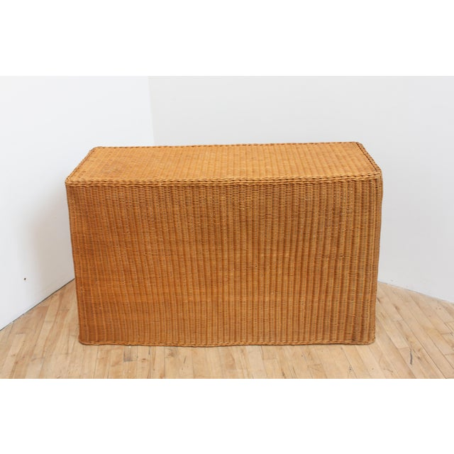 Vintage Trompe l'Oeil Wicker Draped Console Table For Sale In San Francisco - Image 6 of 11
