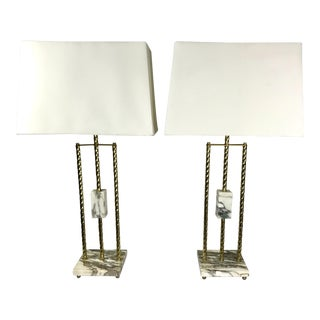 Vintage Brass & Marble Pipe Lamps - a Pair