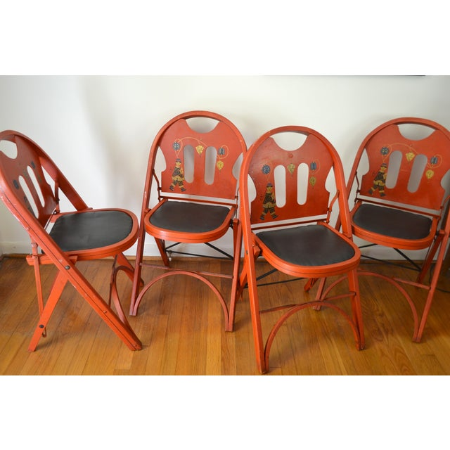 Louis Rastetter Red Folding Chairs- Set of 4 - Image 4 of 7