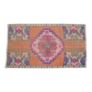 Distressed Low Pile Turkish Yastik Petite Rug Hand Knotted Faded Mat - 20'' X 35'' For Sale