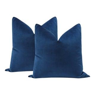 "22"" Sapphire Velvet Pillows - a Pair For Sale"