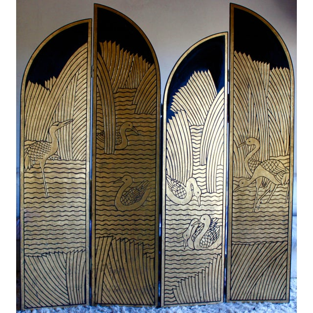 An extraordinary and rare Art Deco folding screen or room divider. So distinctive, the same piece was selected for the set...