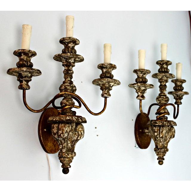 Carved Wood Sconce & Gold Leaf Metal Sconces - A Pair - Image 3 of 9