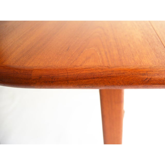 Vintage Mid-Century Modern Teak Extending Dining Table by D-Scan For Sale - Image 9 of 11