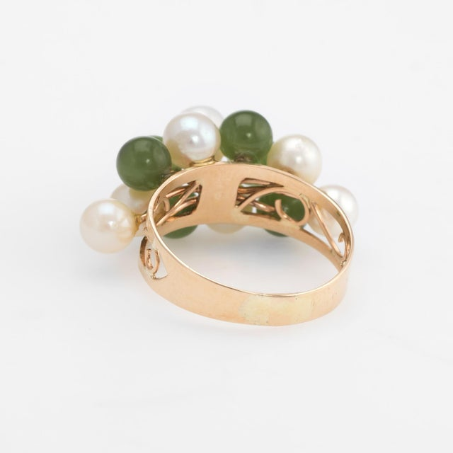 Mid 20th Century Vintage Jade Cultured Pearl Ring 14 Karat Yellow Gold Estate Fine Jewelry For Sale - Image 5 of 8