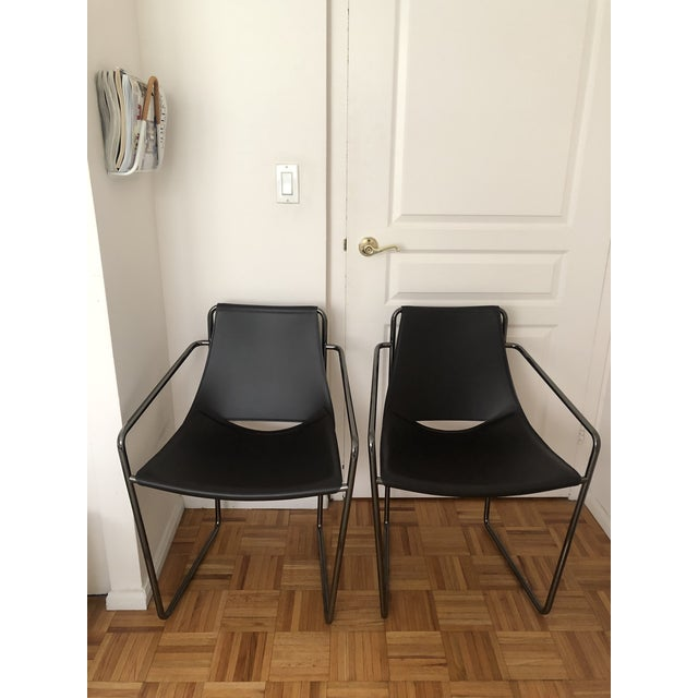 Chocolate Brown Sling Leather Chairs - a Pair For Sale In New York - Image 6 of 6