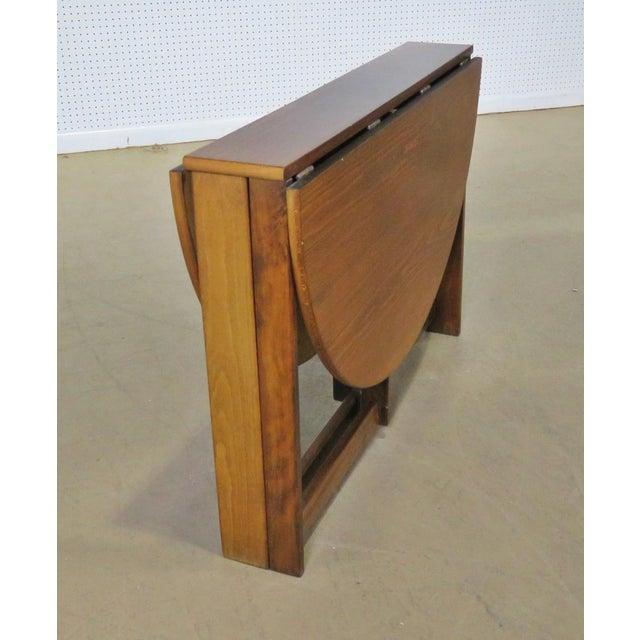 Brown Mid-Century Modern Teak Drop Leaf Table For Sale - Image 8 of 9