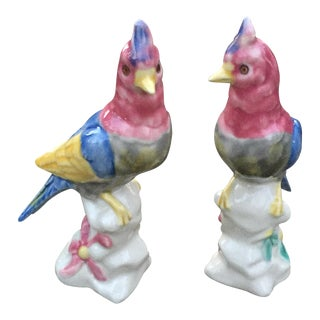 Vintage Glazed Porcelain Birds - A Pair