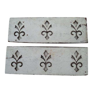 Antique Architectural Fleur De Lis Carved Panels - A Pair For Sale
