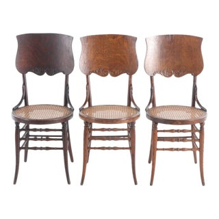 Early 20th Century Antique & Rare Oak Back & Woven Seat Parlor Bistro Chairs - Set of 3 For Sale