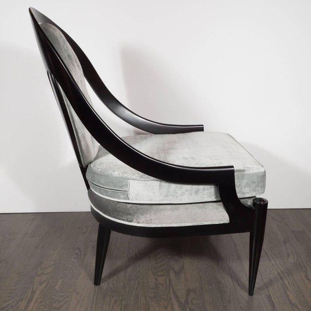 Mid-Century Modern Pair of Mid-Century Modern Spoon Back Occasional Chairs in Ebonized Walnut For Sale - Image 3 of 8