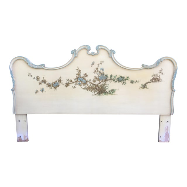 Asian Style Hand Painted King Headboard For Sale