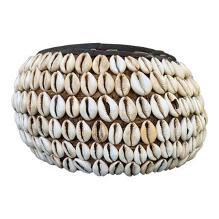 Nigerian Tribal Cowry Shell Basket For Sale