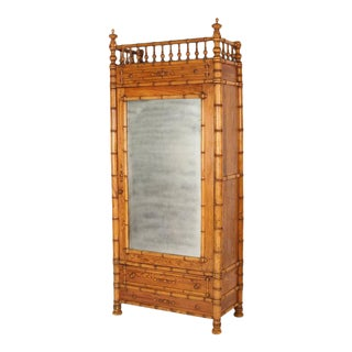 Faux Bamboo & Pine Armoire