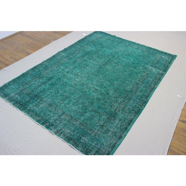 "Vintage Over-Dyed Teal Rug - 7'6"" x 10'9"" - Image 7 of 9"