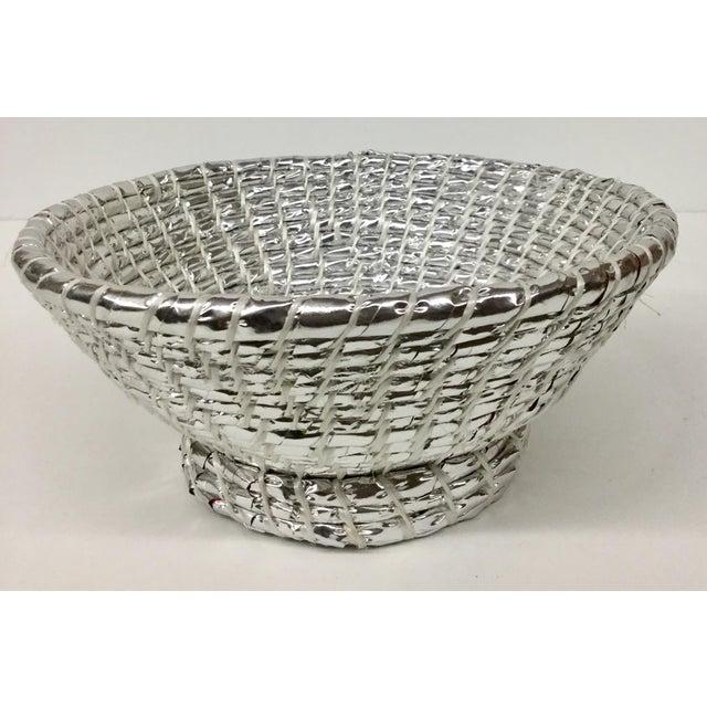 Modern Artisan Hand Woven Repurposed Plastic Basket For Sale - Image 11 of 11