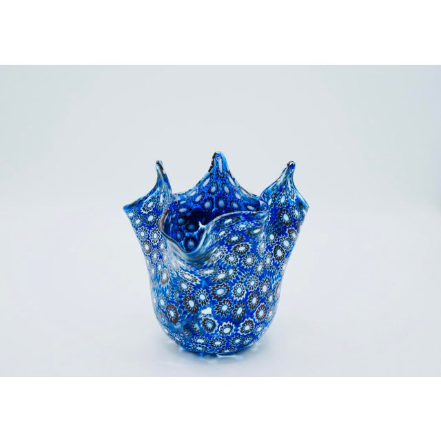 Vintage Blue Murano Millefiori Handkerchief Vase For Sale - Image 13 of 13