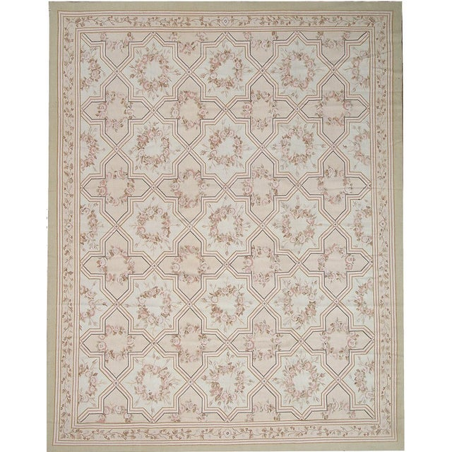 "Contemporary Pasargad Aubusson Hand-Woven Wool Runner - 2'11"" x 10' 2"" For Sale - Image 3 of 3"