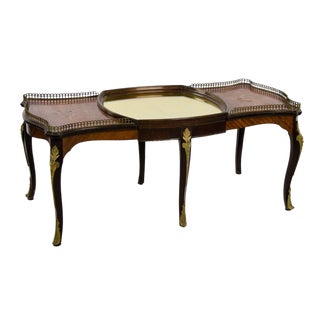 French Provincial Inlaid Walnut and Ormolu Coffee Table For Sale