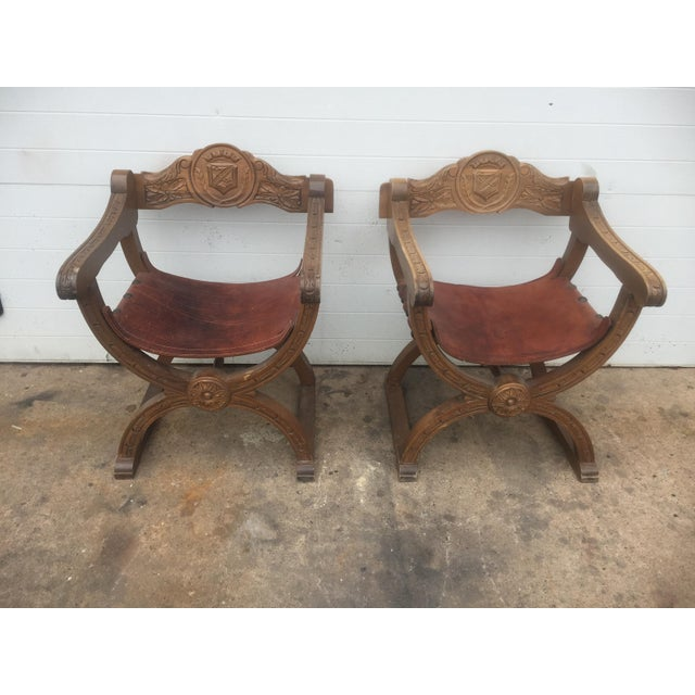 Vintage Spanish Leather & Wood Chairs - A Pair For Sale - Image 5 of 9