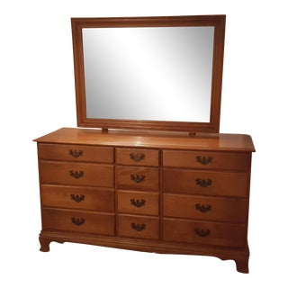 Heywood and Wakefield Maple Dresser with Adjustable Mirror