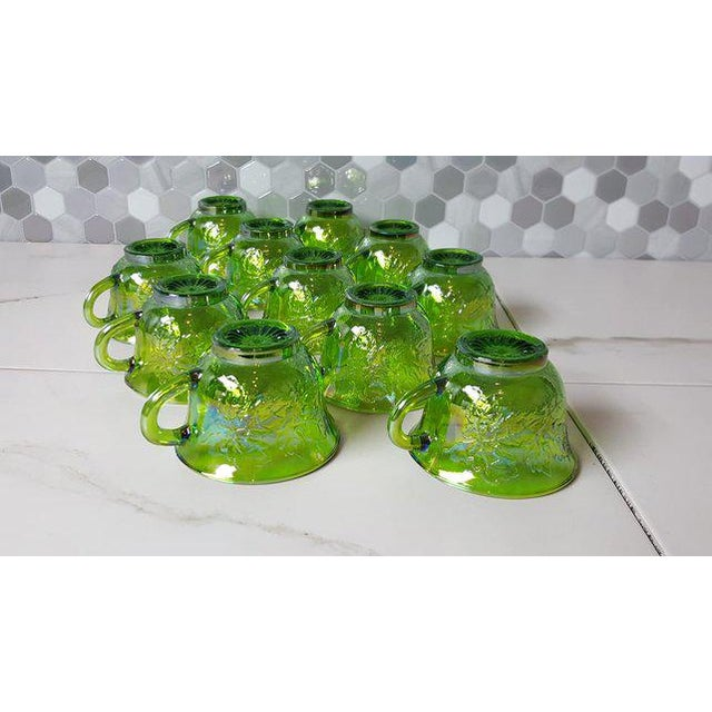 Art Nouveau 1970's Vintage Indiana Glass Company of Dunkirk Green Glasses- Set of 11 For Sale - Image 3 of 11