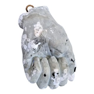 Antique White Plaster Mid Century Modern Pop Art Hand Sculpture For Sale