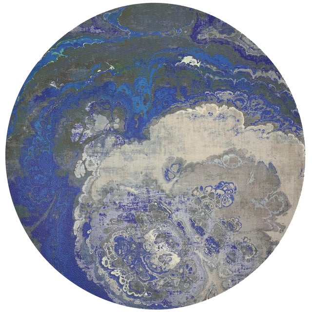 """Abstract Nicolette Mayer Agate Sodlaite 16"""" Round Pebble Placemat For Sale - Image 3 of 3"""