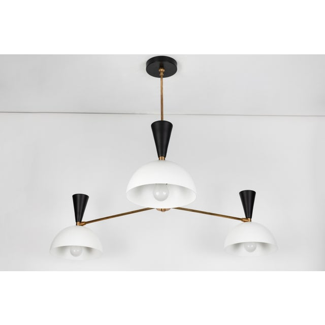White Large Three-Cone 'Lola II' Chandelier in Black and White For Sale - Image 8 of 9