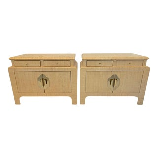 Vintage Steve Chase Grasscloth Nightstands-Pair For Sale