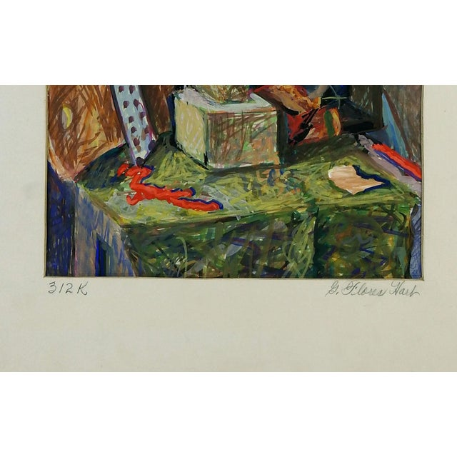 Modernist still life by Geneva Flores Hart (1906-2008), gouache on paper. Unframed, displayed with original mat. Signed...