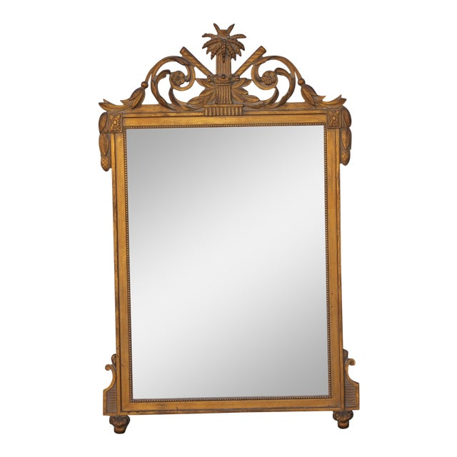 1940's Neoclassical Style Carved Walnut Wall Mirror For Sale