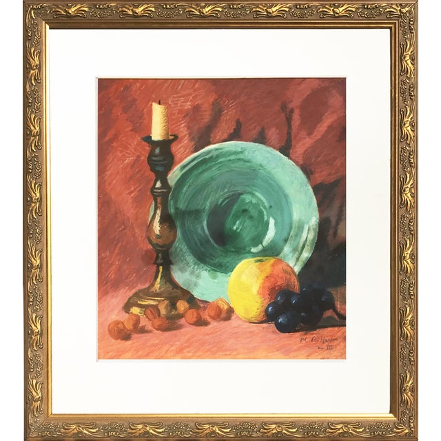 Vintage Pastel Still Life by Harris For Sale