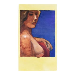 Dark Blue Woman Painting For Sale