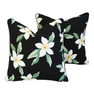 Tropical Gardenia Blossom Feather/Down Pillows - A Pair For Sale