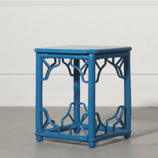 Rattan Fretwork Side Table Painted Blue For Sale - Image 9 of 9