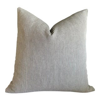 Woven Charcoal Ticking Pillow Cover - 16x16 For Sale
