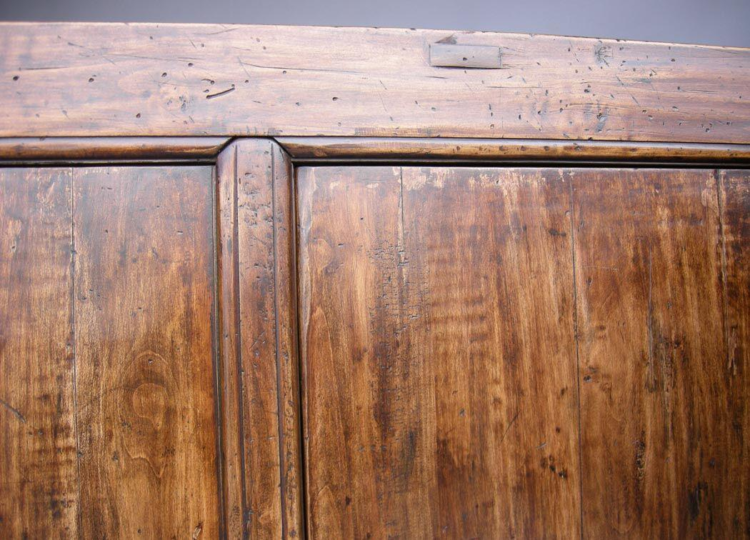 1920s Custom Walnut Wood Japanese Inspired Rustic Console, Buffet Or Cabinet  For Sale   Image