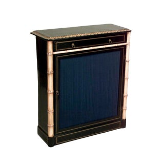 Turn of the Century English Regency Style Gilt Faux Bamboo and Lacquer Cabinet For Sale