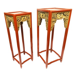 Antique Qing Dynasty Intricately Hand Carved Tall Wooden Chinese Nesting Tables For Sale