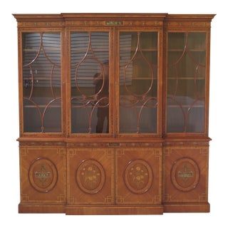 English Made Adam Paint Decorated Breakfront Bookcase For Sale