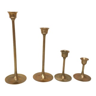 Vintage Minimalist Brass Candle Holders - Set of 4 For Sale