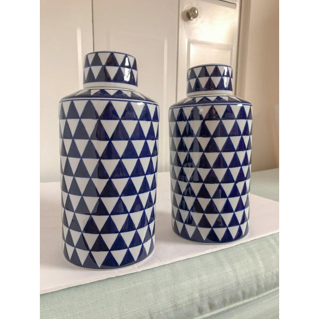 Asian Geometric Ginger Jars, Pair For Sale - Image 3 of 4